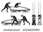 bobsleigh double. two athletes... | Shutterstock .eps vector #1023635983