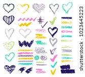 set of chalk vector textures.... | Shutterstock .eps vector #1023645223