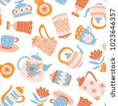 floral tea seamless pattern.... | Shutterstock .eps vector #1023646357