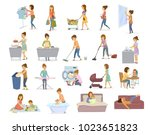 woman does household activities ... | Shutterstock .eps vector #1023651823