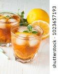 refreshing citrus lemonade ... | Shutterstock . vector #1023657193