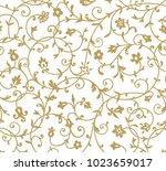 vintage floral pattern. rich... | Shutterstock . vector #1023659017