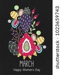 8 march. happy women's day.... | Shutterstock .eps vector #1023659743