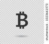 bitcoin sign icon.... | Shutterstock .eps vector #1023661573