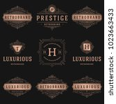 luxury logos templates set ... | Shutterstock .eps vector #1023663433