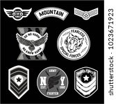set of military and army badge... | Shutterstock .eps vector #1023671923