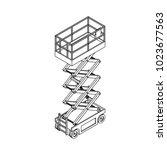 scissors lift platform.... | Shutterstock .eps vector #1023677563