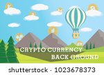 crypto currency on cloud  brown ... | Shutterstock .eps vector #1023678373