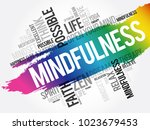 mindfulness word cloud collage  ... | Shutterstock .eps vector #1023679453