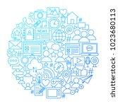 social media line icon circle... | Shutterstock .eps vector #1023680113