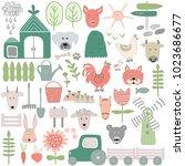 set of hand drawn farm elements ... | Shutterstock .eps vector #1023686677