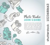 sketchy hand drawn vector photo ... | Shutterstock .eps vector #1023688663