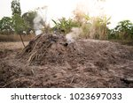 manufacturing charcoal  burn... | Shutterstock . vector #1023697033