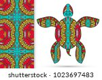 decorative doodle turtle with... | Shutterstock .eps vector #1023697483