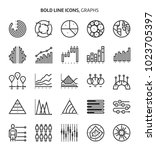 graphs  bold line icons. the... | Shutterstock .eps vector #1023705397