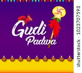 happy gudi padwa  marathi new... | Shutterstock .eps vector #1023707593