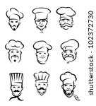 Set of different restaurant chefs in uniform for menu or another  design, such logo. Jpeg version also available in gallery - stock vector