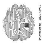 motherboard brain on white... | Shutterstock .eps vector #102372913