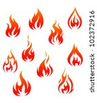 Set of fire flames isolated on white background as warning symbols, such logo. Jpeg version also available in gallery - stock vector