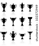 Sports trophies and awards silhouettes set for design, such logo. Jpeg version also available in gallery - stock vector