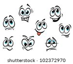 Comics cartoon faces set with different expressions, such logo. Jpeg version also available in gallery - stock vector