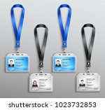 clear plastic name tag badges... | Shutterstock .eps vector #1023732853