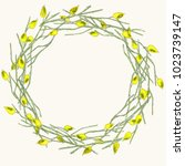 seamless watercolor botanical... | Shutterstock . vector #1023739147