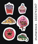 vector set of stickers with... | Shutterstock .eps vector #1023741547