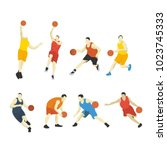 flat design basketball player | Shutterstock .eps vector #1023745333