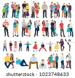 silhouette set of family on... | Shutterstock . vector #1023748633