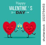 love card. hearts toasting with ... | Shutterstock .eps vector #1023754453