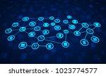 abstract network communication...   Shutterstock . vector #1023774577