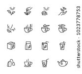 line icon set of tea processing ...