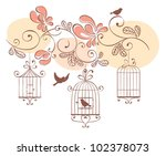 floral background with birds | Shutterstock .eps vector #102378073