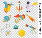 astro patch set with cartoon... | Shutterstock .eps vector #1023780733