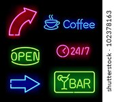Glowing Neon Signs. Vector...