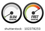 speedometers with slow and fast ... | Shutterstock .eps vector #102378253