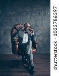 full length portrait of brutal... | Shutterstock . vector #1023786397