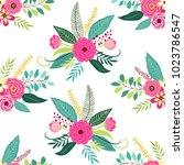 cute seamless pattern with... | Shutterstock .eps vector #1023786547