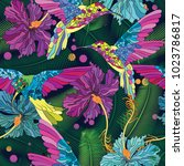 vector floral ethnic seamless... | Shutterstock .eps vector #1023786817