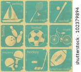 set of Vintage Sport separate  Labels - Retro Signs with Grunge Effect - vector illustration - stock vector