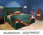 luxury designer bedroom with... | Shutterstock . vector #1023799537