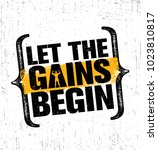 let the gains begin. workout... | Shutterstock .eps vector #1023810817