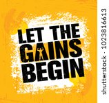 let the gains begin. workout... | Shutterstock .eps vector #1023816613