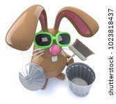 3d render of a cute chocolate... | Shutterstock . vector #1023818437