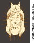 vector illustration of shaman... | Shutterstock .eps vector #1023821167