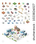 build your own isometric city . ... | Shutterstock .eps vector #1023826027