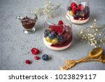 semolina pudding with fruits ... | Shutterstock . vector #1023829117