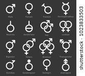 gender icons set on dark...   Shutterstock .eps vector #1023833503