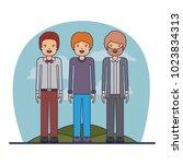 group of elegant men in the... | Shutterstock .eps vector #1023834313